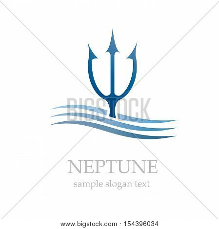 Vector logo Neptune in the sea, abstract shape