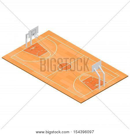 Basketball court Sport Isometric View for Web, App. Vector illustration