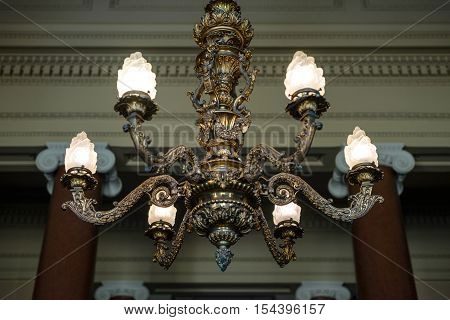 vintage chandelier in retro castle with nice blurr england