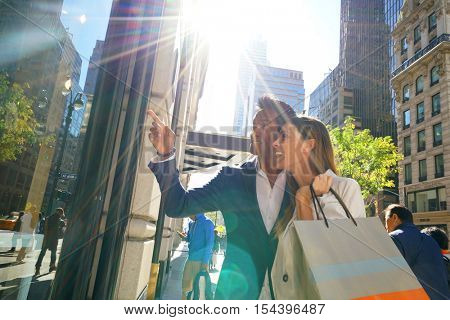 Couple doing shopping in Manhattan, NYC