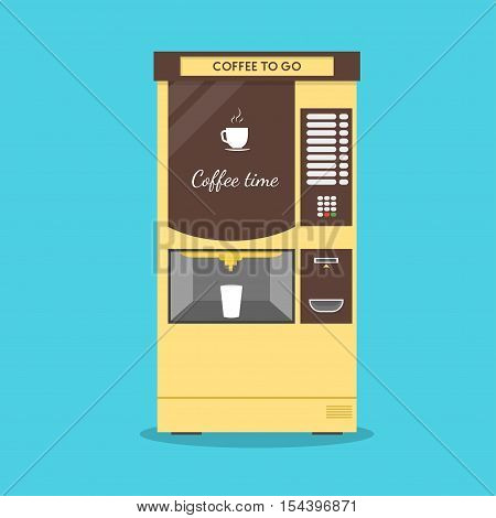 Coffee Vending Machine. Flat Design Style. Maker Hot Drink. Vector illustration