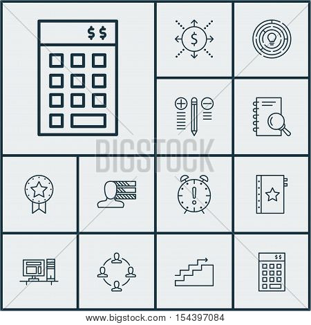 Set Of Project Management Icons On Collaboration, Present Badge And Time Management Topics. Editable
