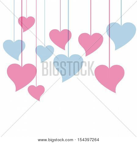 Vector colored hearts isoated in white background
