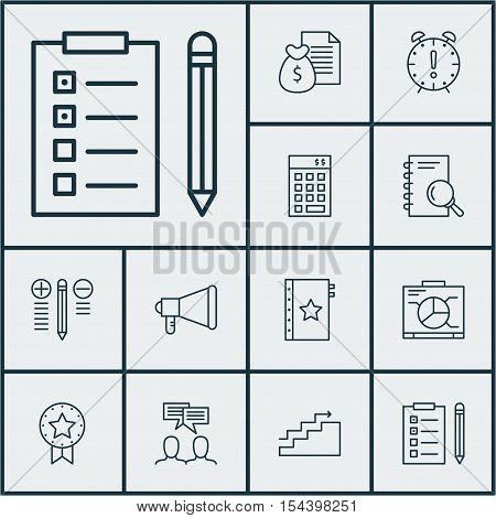 Set Of Project Management Icons On Investment, Analysis And Time Management Topics. Editable Vector
