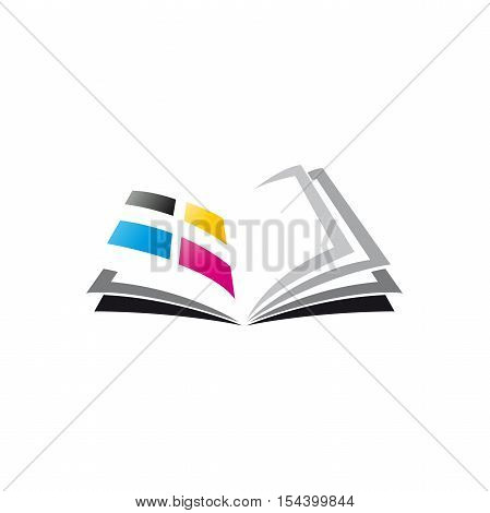 Vector logo book print in CMYK in abstract shape