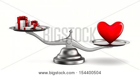 Heart and gift boxes on scales. Isolated 3D image