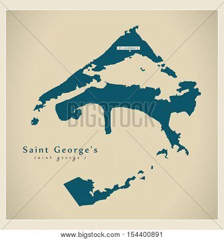 Modern Map - Saint George's BM Bermuda illustration vector