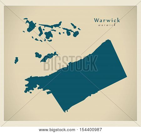 Modern Map - Warwick BM Bermuda illustration vector