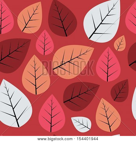 Seamless decorative vector pattern with red, blue and dusty pink leaves on vinous background.