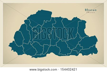 Modern Map - Bhutan with districts BT illustration vector