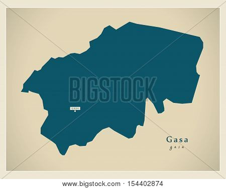 Modern Map - Gasa BT Bhutan illustration vector