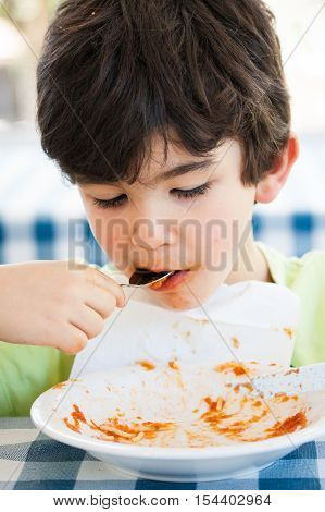 Boy Having Pasta Lunch