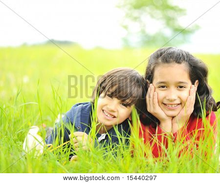 Happy childhood in nature, beautiful scene