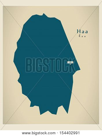 Modern Map - Haa BT Bhutan illustration vector