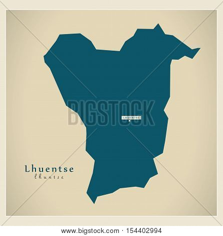 Modern Map - Lhuentse BT Bhutan illustration vector