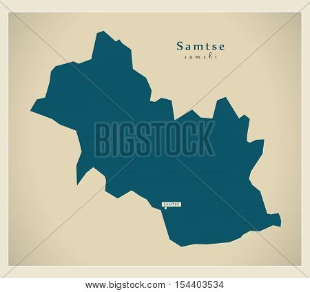 Modern Map - Samtse BT Bhutan illustration vector