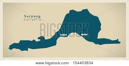 Modern Map - Sarpang BT Bhutan illustration vector