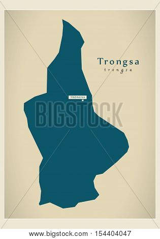 Modern Map - Trongsa BT Bhutan illustration vector