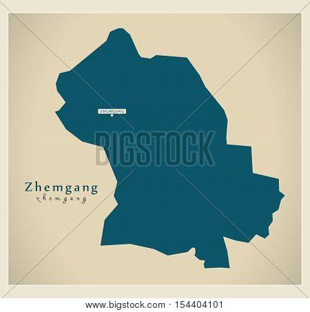 Modern Map - Zhemgang BT Bhutan illustration vector