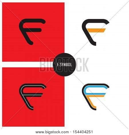 F- Company Symbol.F-letter abstract logo design.Corporate business and industrial logotype symbol.Vector illustration