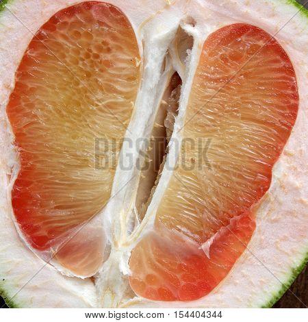 Grapefruit On Wood Background, Tropical Fruit