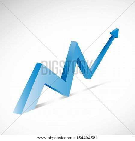 Vector blue financial growth with arrow on motion
