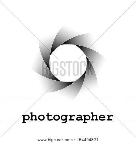 Vector logo photographer, aperture on white, isolated illustration