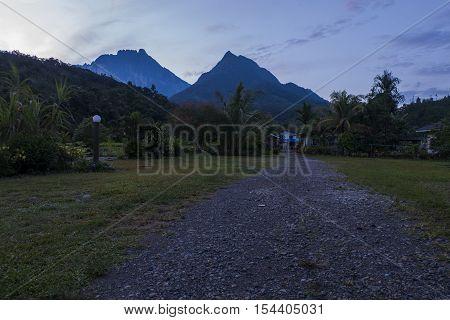 TAMBATUON,KOTA BELUD, SABAH AUGUST 29 2016:- Scenery of Mount Kinabalu from Tambatuon Village during sunrise