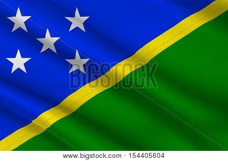 Flag of Solomon Islands Honiara - Melanesia. 3d illustration