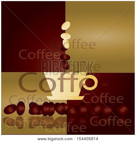 Vector coffee cup and coffee beans on white background.