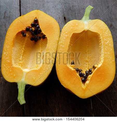 Papaya On Wooden Background, Tropical Fruit