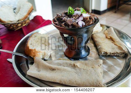 Traditional oromo and Ethiopian cuisine dish aka tibs Ethiopia
