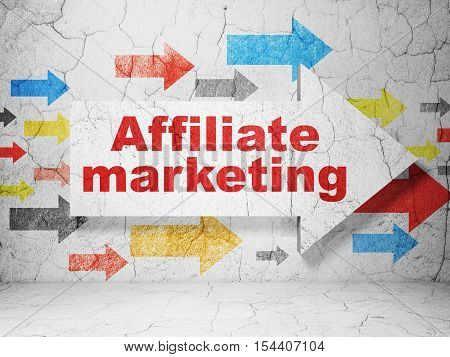 Business concept:  arrow with Affiliate Marketing on grunge textured concrete wall background, 3D rendering