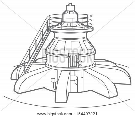 Outline illustration of a hydroelectric generator generating power and electricity with falling water