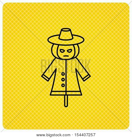 Scarecrow icon. Human silhouette with pumpkin head sign symbol. Linear icon on orange background. Vector