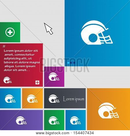 Football Helmet Icon Sign. Buttons. Modern Interface Website Buttons With Cursor Pointer. Vector