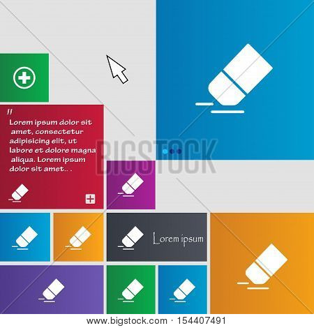 Eraser, Rubber Icon Sign. Buttons. Modern Interface Website Buttons With Cursor Pointer. Vector