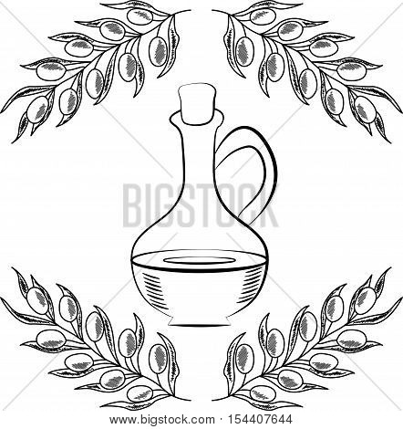 Jug glass of Olive oil with cork stopper and branch with leaves. Hand drawn design element. Vintage illustration, decorative frame. Isolated on white background