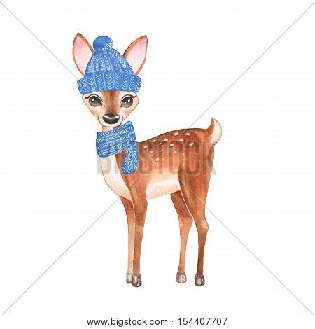 Baby Deer. Knitted cup and scarf. Hand drawn cute fawn. Cartoon illustration, isolated on white. Watercolor painting