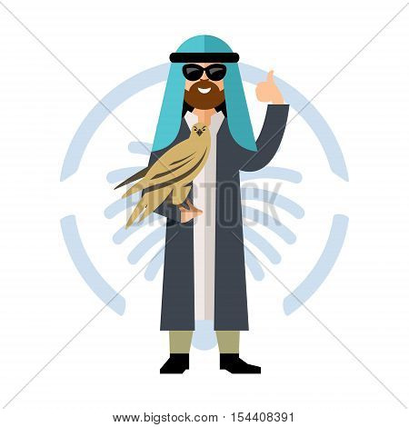 Arab man carrying wild falcon. Isolated on a white background