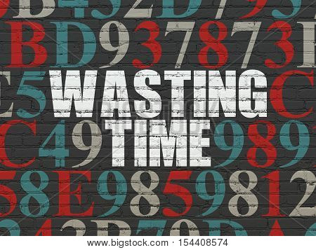 Time concept: Painted white text Wasting Time on Black Brick wall background with Hexadecimal Code