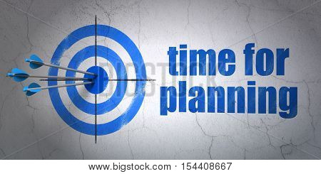 Success timeline concept: arrows hitting the center of target, Blue Time for Planning on wall background, 3D rendering