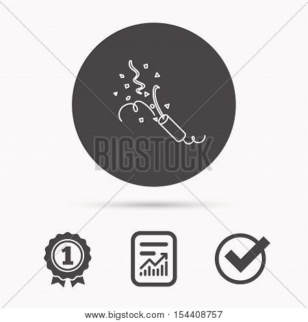 Shooting slapstick icon. Celebration sign. Report document, winner award and tick. Round circle button with icon. Vector