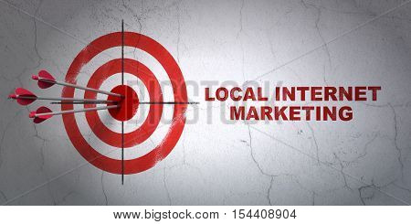 Success marketing concept: arrows hitting the center of target, Red Local Internet Marketing on wall background, 3D rendering