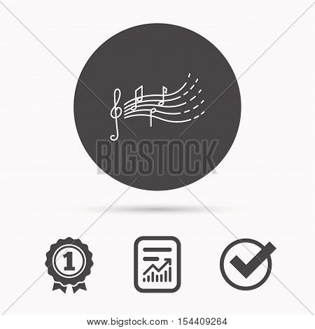 Songs for kids icon. Musical notes, melody sign. G-clef symbol. Report document, winner award and tick. Round circle button with icon. Vector