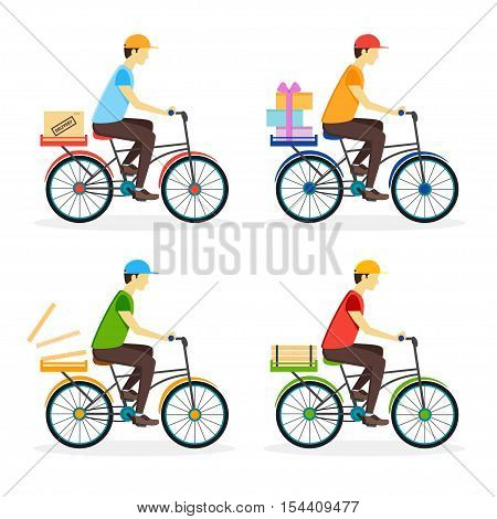 Delivery Boy on the Bike Set. Flat Design Style. Vector illustration