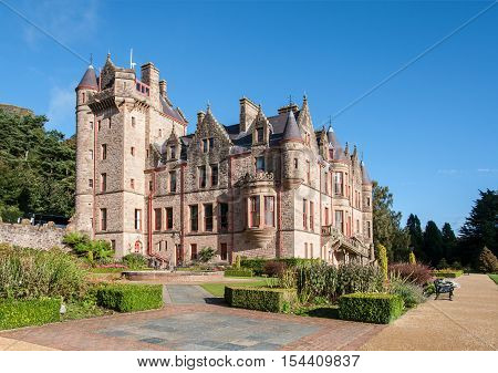 BELFAST, NORTHERN IRELND, UK - SEPTEMBER 30, 2016: Belfast castle. Tourist attraction on the slopes of Cavehill Country Park in Belfast Northern Ireland