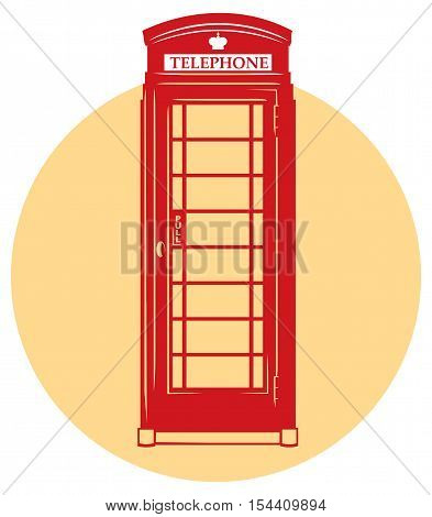monochromaric icon of London red telephone booth