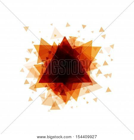 Bright ornge abstract background of triangles with frame for text on a white background. Vector illustration