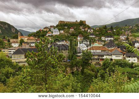 View on Jajce town, Bosnia and Herzegovina poster